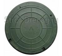Люк универсальный, круглый полимерный зелёный d-455/330 мм h-55 мм